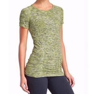 Athleta Fastest Track Space Dyed Tech Tee Green